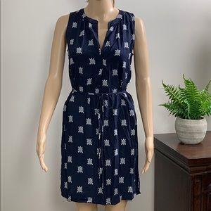 Ann Taylor Loft Turtle Print Blue Dress